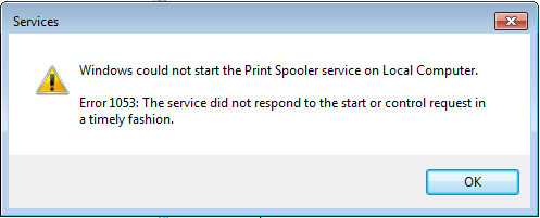 "How to fix ""Print Spooler Error 1053""?"